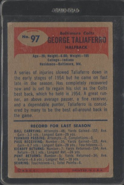 1955 Bowman #97 George Taliaferro (Backs)