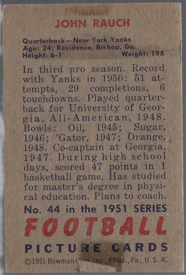 1951 Bowman #44 John Rauch (back)