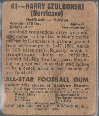 1948 Leaf #41A Harry Szulborski - Orange Pants (back)