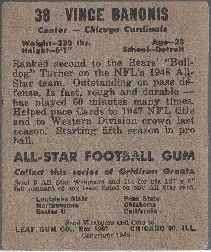1949 Leaf #38 Vince Banonois (back)