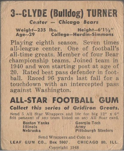 1948 Leaf #3 Bulldog Turner (back)