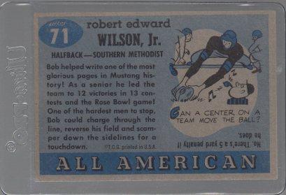 1955 Topps All American #71 Bobby Wilson (back)