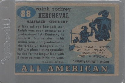1955 Topps All American #88 Ralph Kercheval (back)