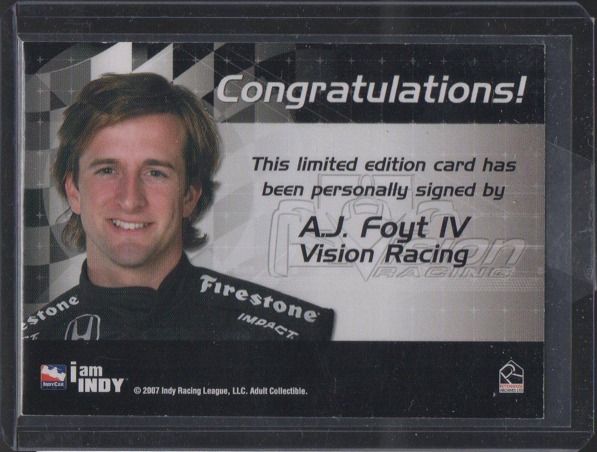 2007 Rittenhouse IRL Autographs #7 A.J. Foyt IV (back)