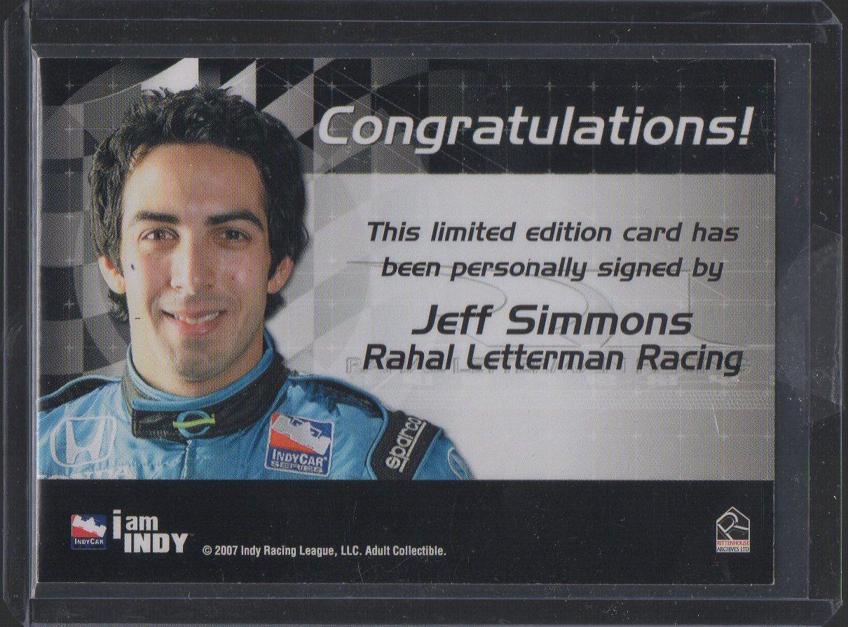 2007 Rittenhouse IRL Autographs #16 Jeff Simmons (back)