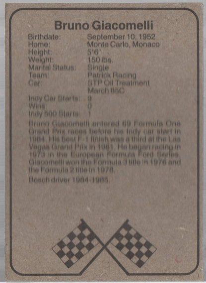 1986 BOSCH INDY #3 BRUNO GIACOMELLI (back)