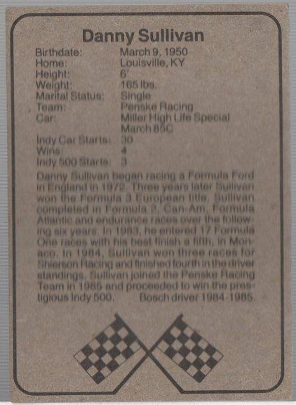 1986 BOSCH INDY #6 DANNY SULLIVAN (back)