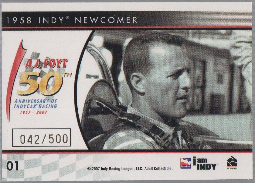 A.J. Foyt 2007 Rittenhouse IndyCar A.J. Foyt 50th Anniversary #01 (back)