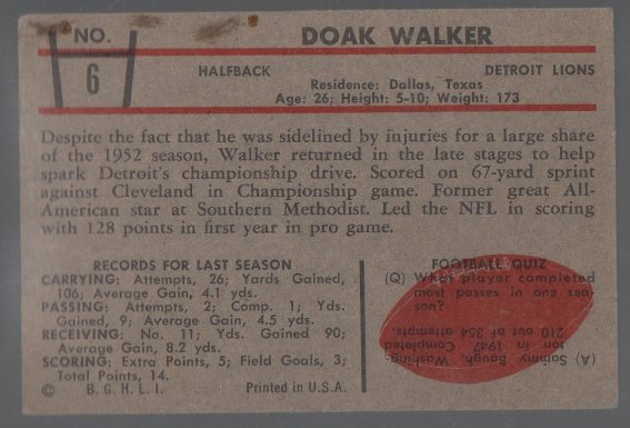 1953 Bowman #6 Doak Walker (back)