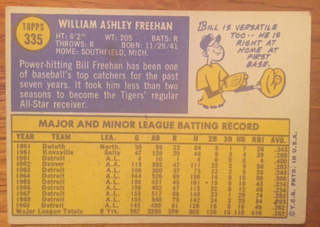 1970 Topps #335 Bill Freehan (back)