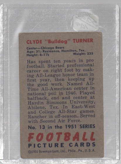 1951 Bowman #13 Bulldog Turner (back)