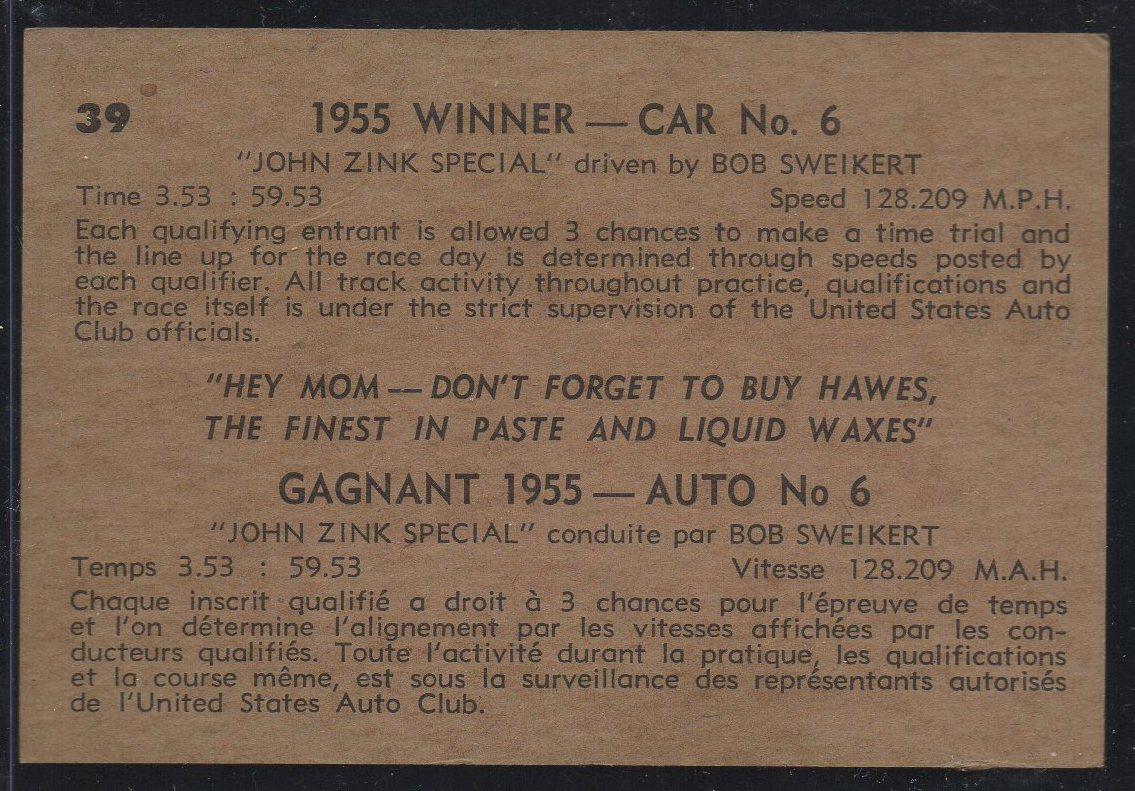 1960 Parkhurst Hawes Wax Indy #39 Bob Sweikert (back)