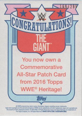 The Giant (Big Show) 2015 Topps Heritage WWE nWo Commemorative Patch NNO #d169/299 (back)