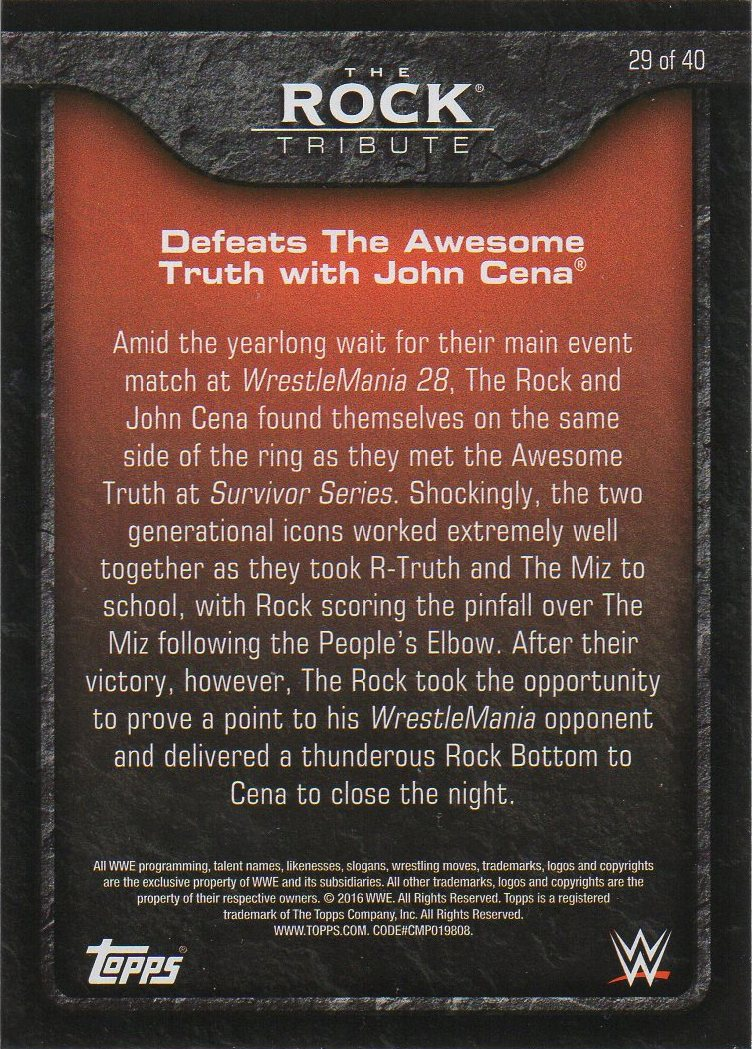 2016 Topps WWE Heritage - The Rock Tribute #29 The Rock (back)