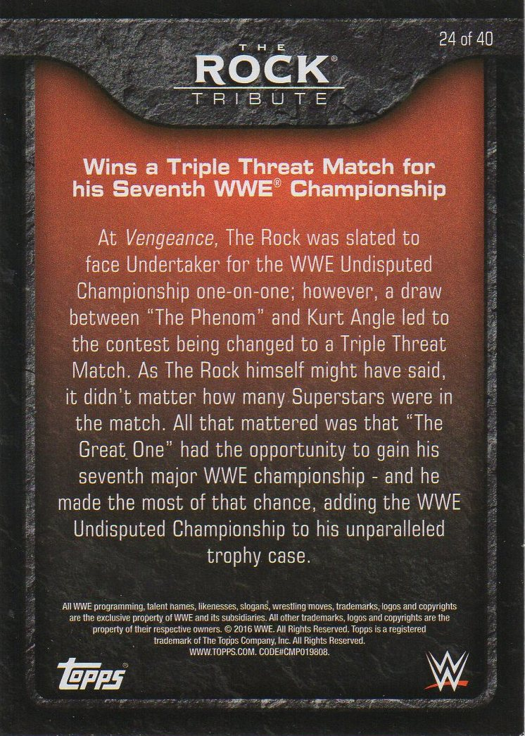 2016 Topps WWE Heritage - The Rock Tribute #24 The Rock (back)