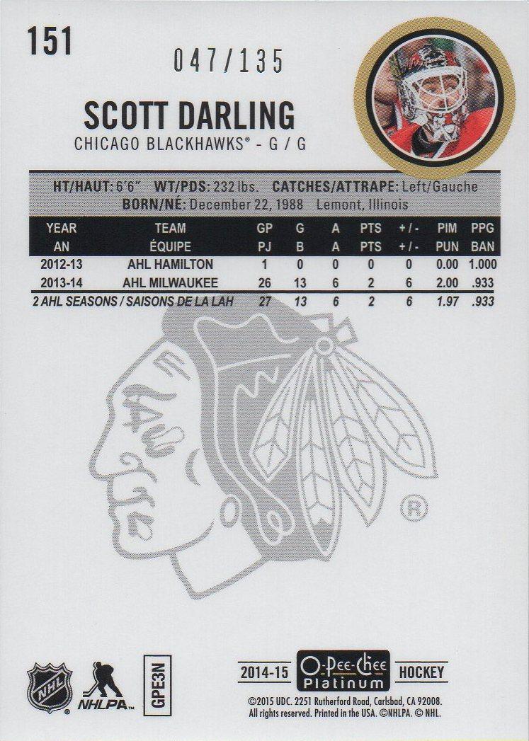 2014-15 O-Pee-Chee Platinum Red Prism #151 Scott Darling /135