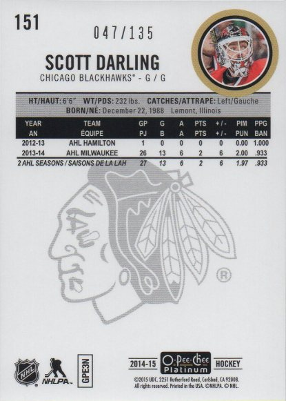 2014-15 O-Pee-Chee Platinum Red Prism #151 Scott Darling /135