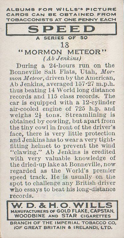 1938 Wills' Cigarettes #18 Ab Jenkins (back)