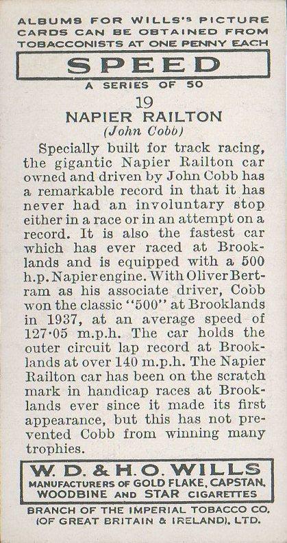 1938 Wills' Cigarettes #19 John Cobb (back)