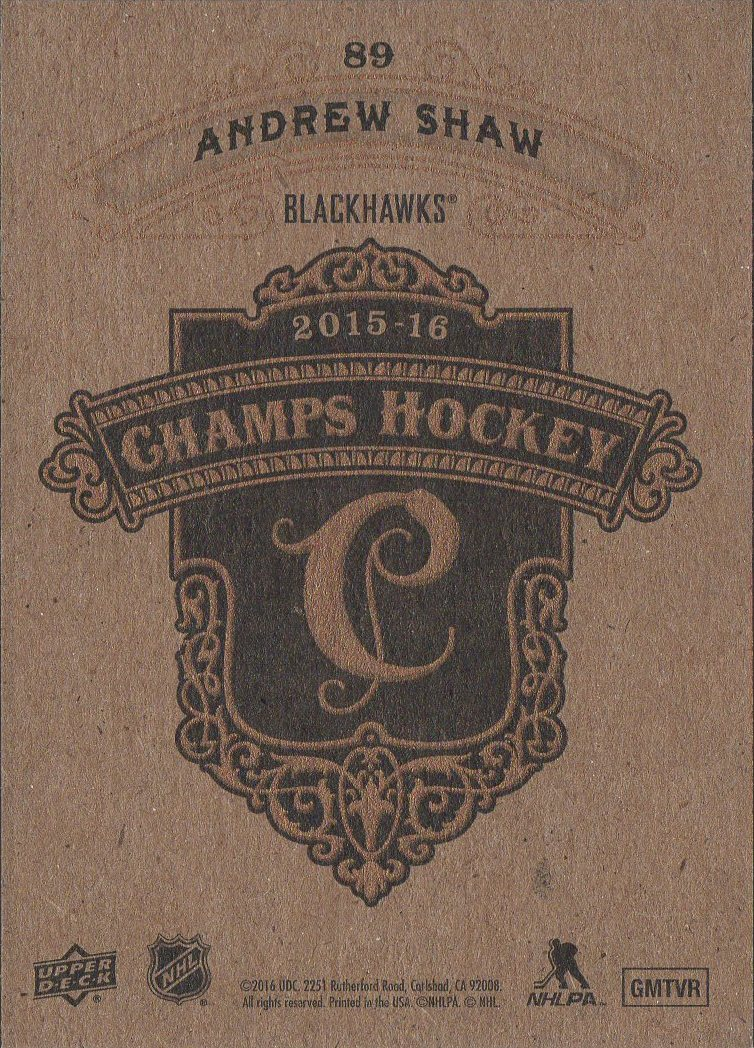 2015-16 Champs Gold Back #89 Andrew Shaw (back)