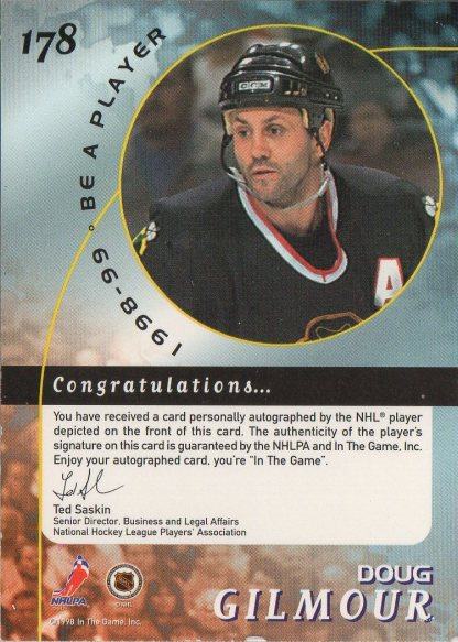 1998-99 Be A Player Autographs #178 Doug Gilmour /450 (back)
