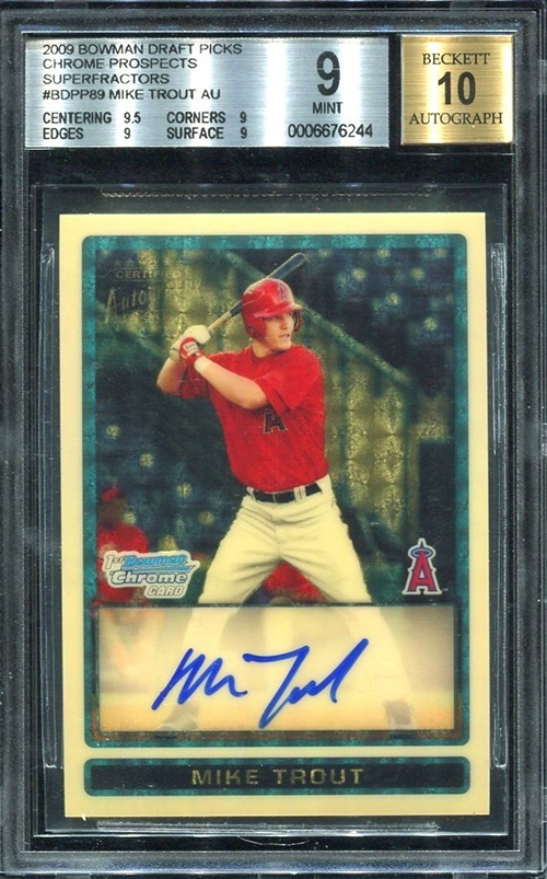 2009-Bowman-Chrome-Draft-mike-Trout-Superfractor-Autograph-Front
