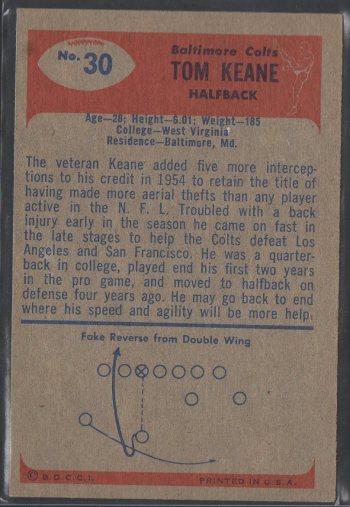 1955 Bowman #30 Tom Keane (B)