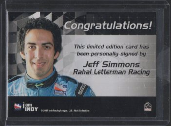 2007 Rittenhouse IRL Autographs #16 Jeff Simmons (back)