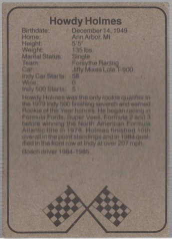 1986 BOSCH INDY #4 HOWDY HOLMES (back)