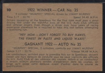 1960 Parkhurst Hawes Wax Indy #10 Jimmy Murphy (back)