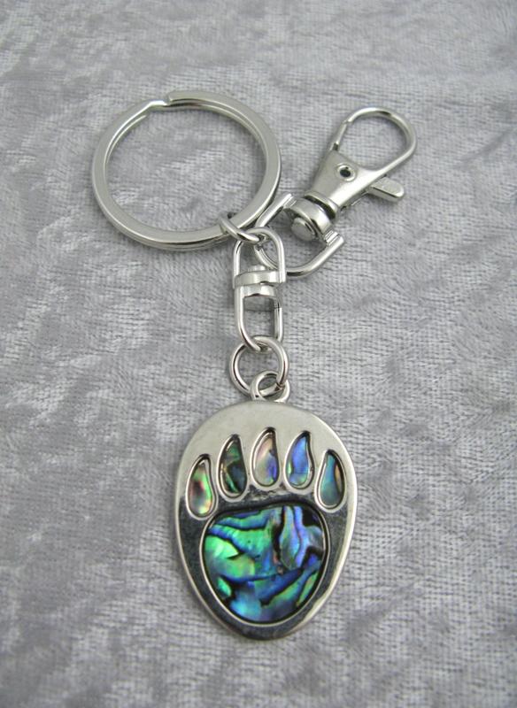 Abalone Bear Paw Keychain