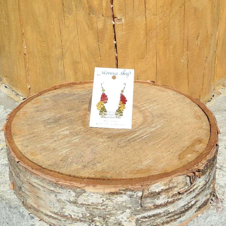3 Oak Leaf Earring
