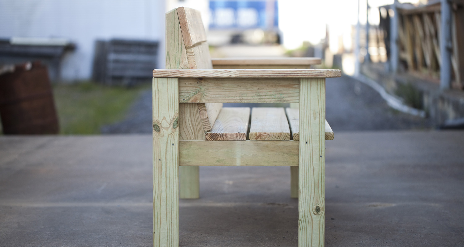 Outdoor Garden Bench - Unfinished - Pressure Treated Wood