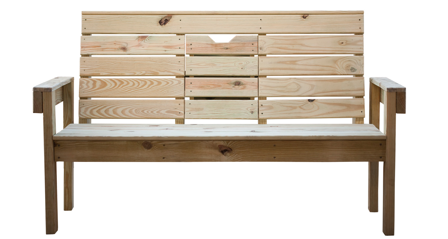 Outdoor Lazy Bench - Unfinished - Pressure Treated Wood - White Background