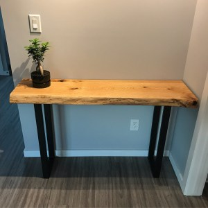 Custom hallway table made with red oak
