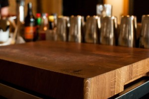 Custom white oak butcher blocks for The Oxbow Natural Wine Bar & Restaurant (close-up)