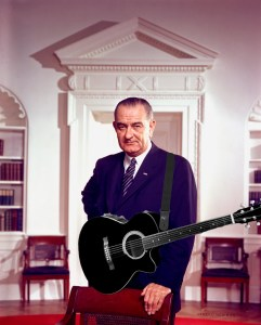 LBJ with a guitar