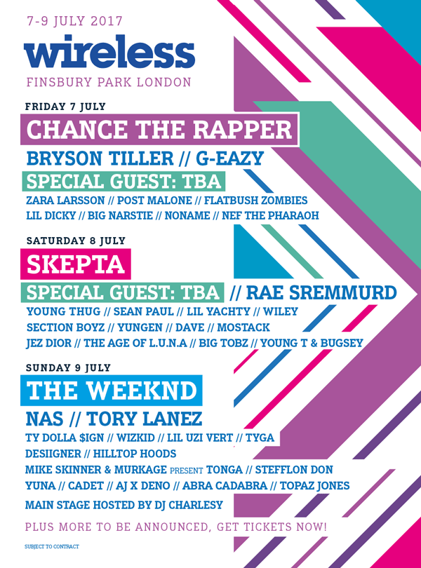 Wireless Festival lineup poster 2017