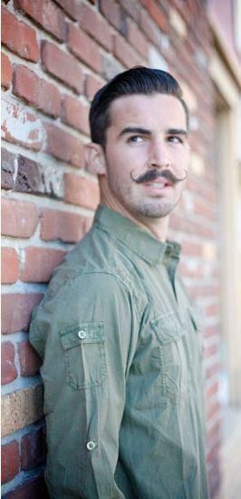 young men handlebar mustache