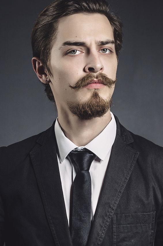 men Handlebar mustache with a goatee beard