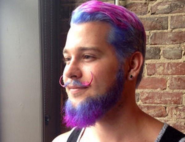 Rainbow color beard for men