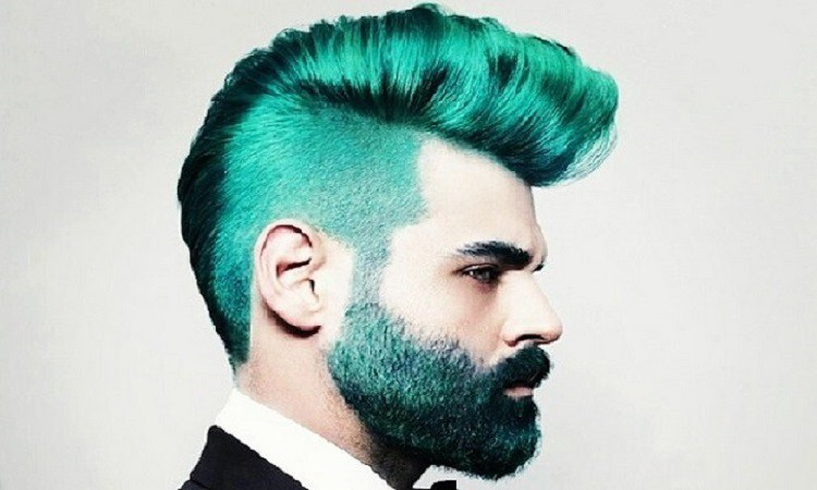 Turquoise color beard for men