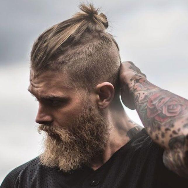 vikings man bun with beard
