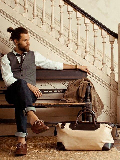 stylish man bun with beard