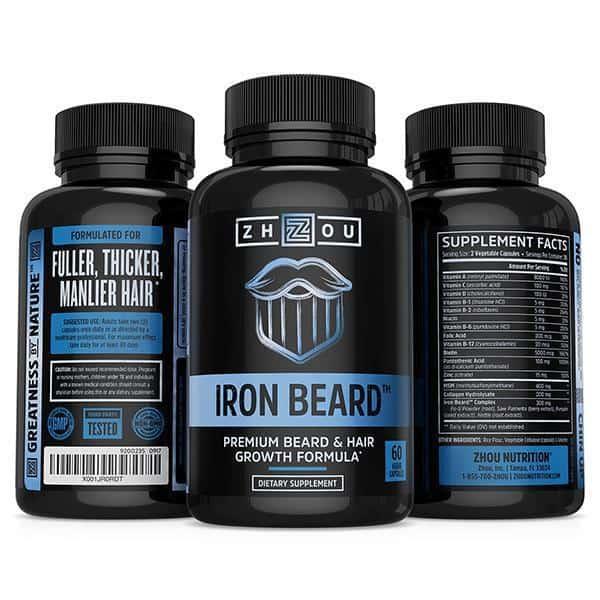 IRON BEARD: Beard Growth Vitamin Supplement for Men by Zhou Nutrition