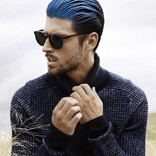 Blue Hair And Short Beard for Men