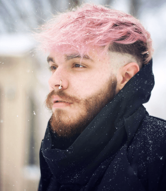 Funky Pink Hair with a Natural Beard