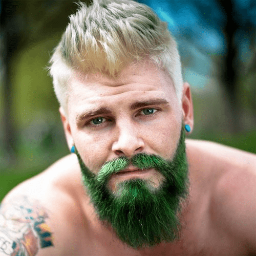 blond spiky hair with green beard