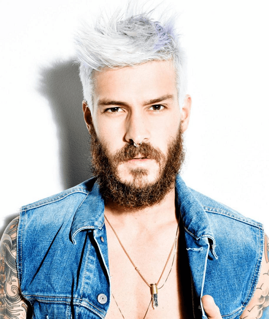 men's silver hair with thick beard