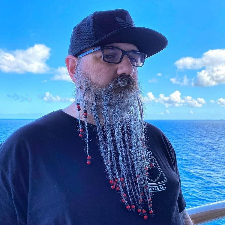 long braided beard with beads